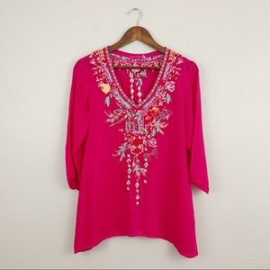 Johnny Was Hot Pink Embroidered Asymmetrical Top
